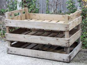 Three wooden garden apple crates (3).