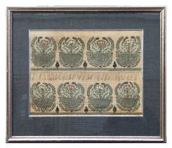 Two 19th century Turkish Ottoman embroidered velvet towel fragments, framed and glazed as one. 49 by
