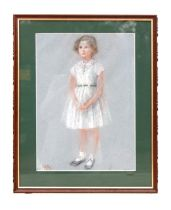 Hermione Hammond (British 1910-2005) - A full length portrait of a young girl wearing a white dress,