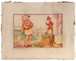 Tom Thursby - The Road to Tumbledown - watercolour, possibly a book illustration which was never