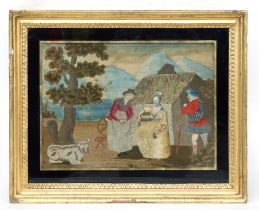An 18th century woolwork picture depicting a Scottish gentleman wearing a kilt beside two ladies