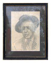 20th century modern British - Portrait of a Gentleman Wearing a Hat - pencil, framed & glazed, 23 by