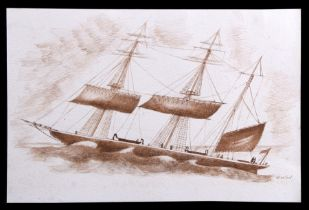 W Willard - Three Masted Ship - sepia watercolour sketch, signed lower right, unframed, 30 by