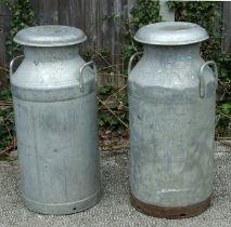Two ten gallon aluminium milk churns, approx. 74cms (29ins) high (2).