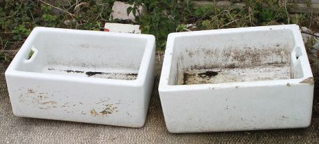A Butler's sink, 60 by 46cms (24 by 18ins); together with another similar, 60 by 40cms (24 by 16ins)