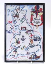 A mid century embroidery - Festival of Britain 1951', depicting the British Isles, framed &