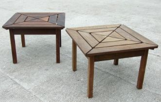 A pair of hardwood garden tables with geometric slatted tops, 72cms (28.5ins) wide (2).