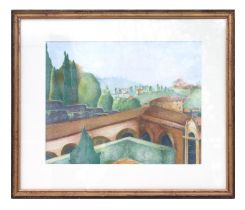 Emma Legge (modern British) - A View from San Miniato al Monte, Florence - crayon, titled to
