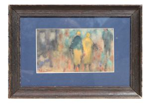 Early 20th century Impressionist school - Figures - watercolour, indistinctly signed lower left,