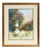B P Kendall (modern British) - Garden Scene with Urn and Flowers - signed lower right, framed &