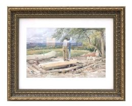 Late 19th century English school - Two Men Sawing in a Saw Pit - watercolour, indistinctly