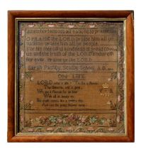 A mid 19th century Victorian sampler with verso and flowers within a meandering border inscribed '