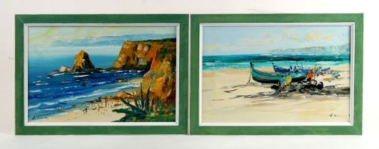 20th century Maltese school - Beach Scene with Figures - together with another similar - Fishermen