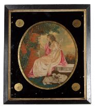 An 18th century woolwork on silk picture of a shepherdess and her flock, framed & glazed, 24 by