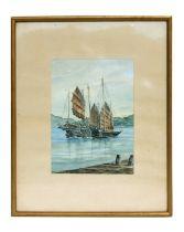 Simon Yeo - Harbour Scene with Moored Junks - watercolour, signed lower left, framed & glazed, 17 by