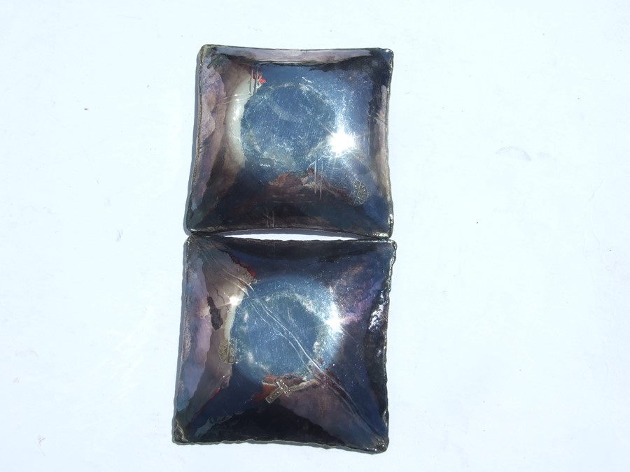 A pair of Loys Lucha, Paris Art Deco silvered and patinated bronze pin dishes, signed 'Loys' and - Image 2 of 2