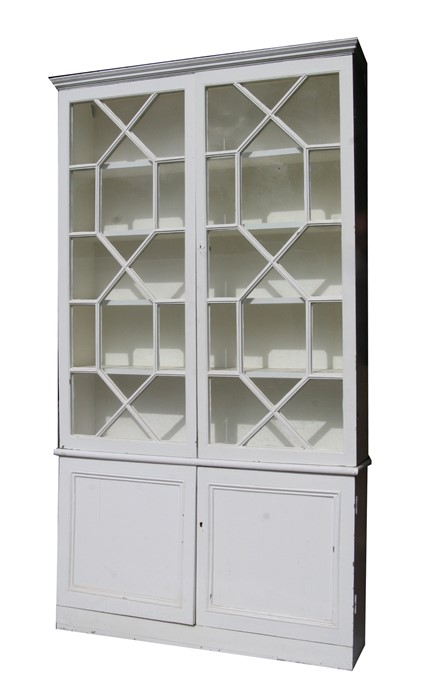 A pair of painted pine bookcases on cupboards, the pair of glazed doors enclosing a shelved interior - Image 3 of 11