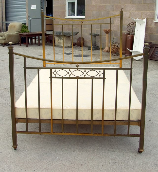 A brass double bed.Condition ReportGood clean condition and measures 4'6 by 6'3ins. - Image 2 of 5