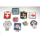 Assorted badge bar badges including Wessex Vehicle Preservation Club, Fire Service Personnel,
