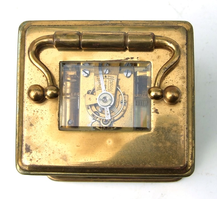 A miniature four-pillar gilt brass carriage clock, the white enamel dial with Roman numerals, - Image 3 of 3
