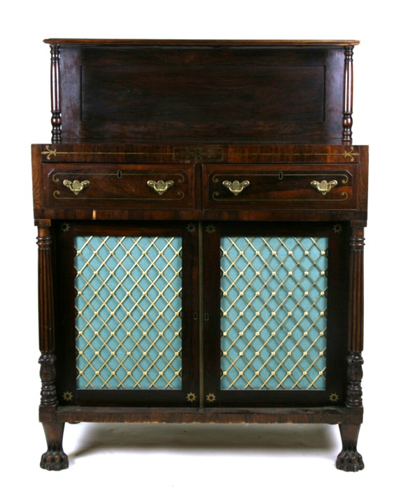 A George IV rosewood & brass inlaid side cabinet with simulated sides, the raised back with turned