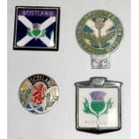 A Scottish Officer's Car Club badge bar badge and other Scottish related badge bar badges.