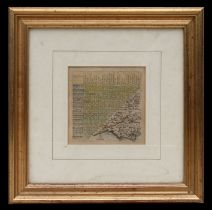 Jacob van Langeren Jenner - a 17th century thumbnail map of Dorset, map no. 12, hand coloured with