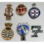 Six badge bar badges including Royal Yachting Association, BHS Automobile-Club-Cannes and others (