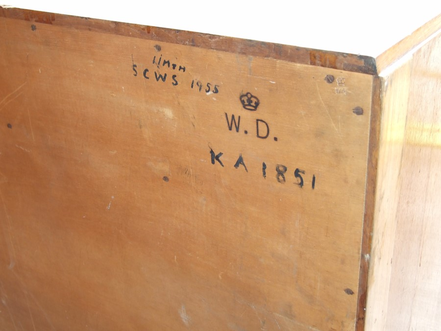 A mdi 20th century War Department oak chest of two short and three graduated long drawers, on a - Image 2 of 2