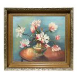 Violet Harrison (modern British) - Still Life of Magnolias in a Vase - signed lower right, Exhibitor