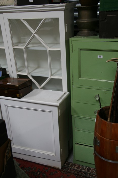 A pair of painted pine bookcases on cupboards, the pair of glazed doors enclosing a shelved interior - Image 9 of 11