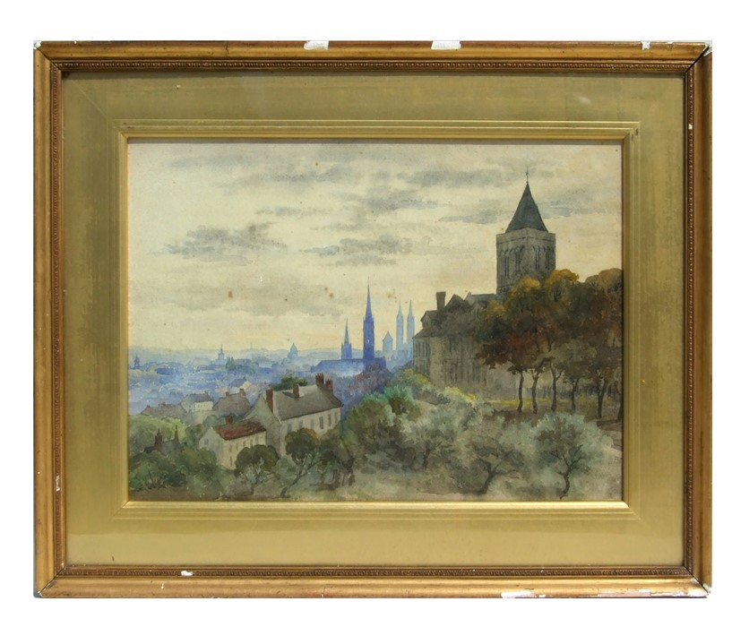 Continental school - View of the Abbey of St Etienne - watercolour, F Casson Art Dealer label to