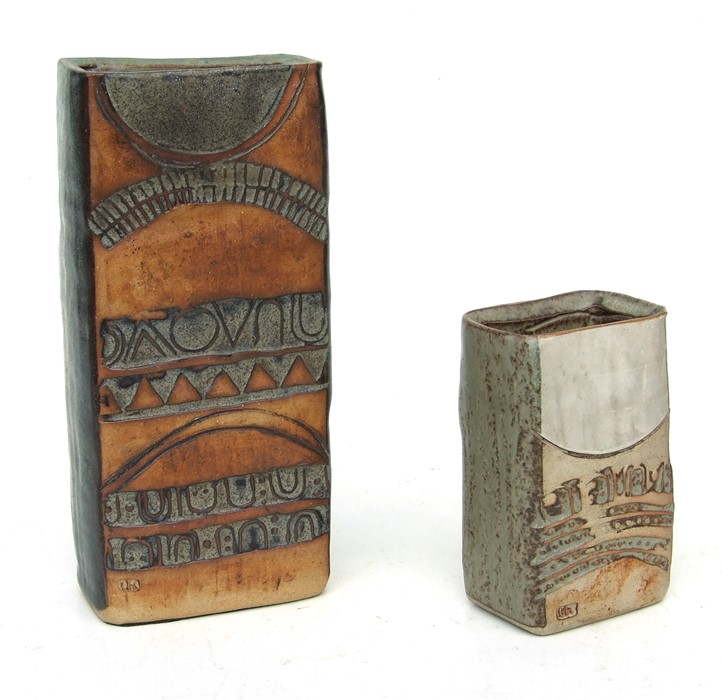 Louise Hudson Studio Pottery slab vase with incised decoration, 23cms (9ins) high; together with