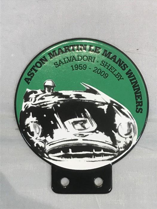 An Aston Martin Le Mans Winners 50 year commemorative enamel badge bar badge (Salvadori - Shelby)