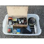 A quantity of assorted bicycle spares including a sprung saddle, pedals, reflectors, rear lights and