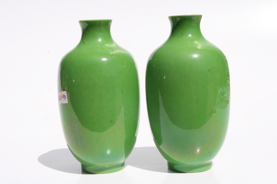 A pair of Chinese green monochrome vases with blue seal mark to the underside, 16cms (6.25ins) - Image 5 of 6