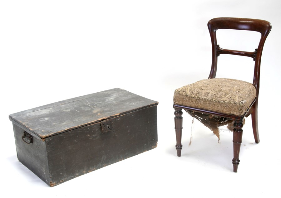 A painted pine blanket box, 86cms (33.75ins) wide (a/f); together with a Victorian mahogany dining