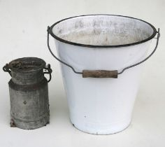 An enamel bucket; together with a galvanised cream churn (2).