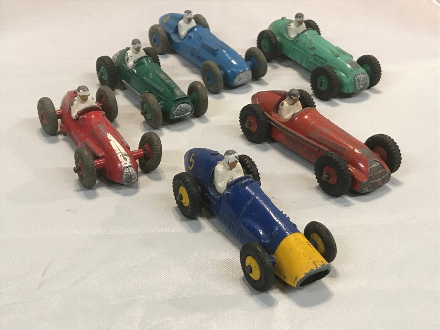 A set of six Dinky Toys racing cars: Ferrari 23H, Alfa Romeo 23F, Maserati 231, Cooper-Bristol - Image 3 of 3