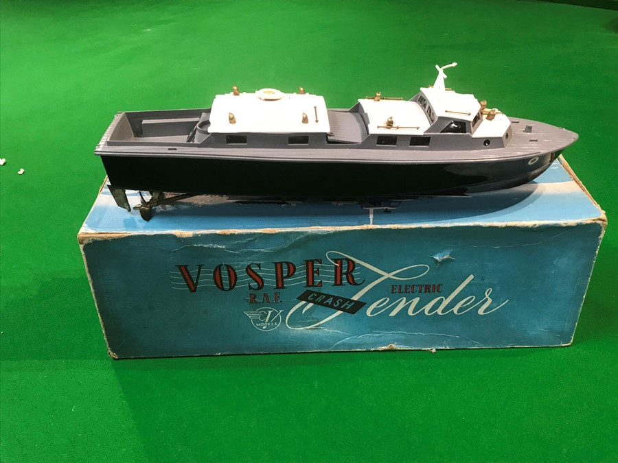 A Vosper Models RAF Crash Tender, powered by the famous Mighty Midget electric motor, in original