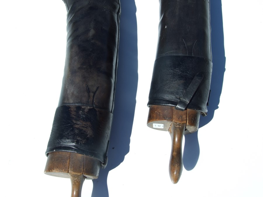 A pair of black leather riding boots with wooden trees.Condition ReportSole measures 29cms and the - Image 7 of 10