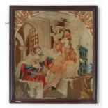 A woolwork tapestry picture panel, framed, 46 by 54cms (18 by 21.25ins).