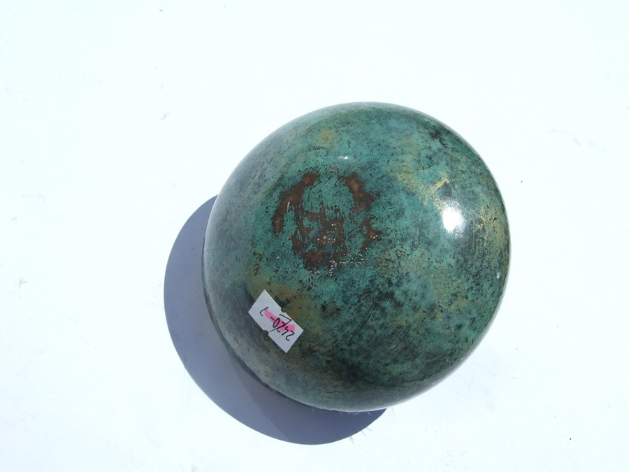 A Loys Lucha, Paris Art Deco silvered & Verdigris bronze patinated circular powder puff box and - Image 4 of 4