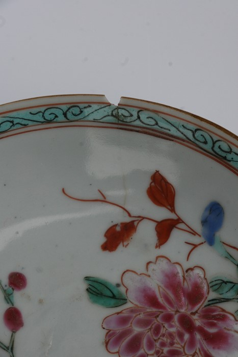 A pair of 18th century Chinese shallow dishes decorated with flowers, 14cms (5.5ins) diameter; - Image 8 of 8