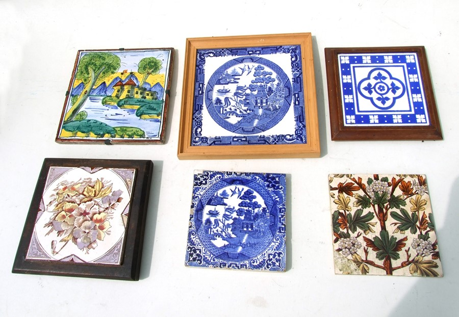 A group of 19th century pottery tiles, some framed, to include Minton (6).
