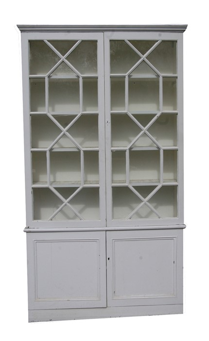 A pair of painted pine bookcases on cupboards, the pair of glazed doors enclosing a shelved interior - Image 5 of 11