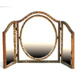 A gilt gesso tryptic dressing table mirror, 100cms (39.5ins) wide opened.