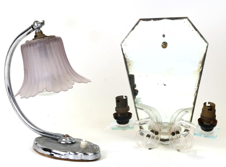 A 1950's vintage Lucite two-branch mirror backed sconce, 18cms (7ins) wide, together with a chrome