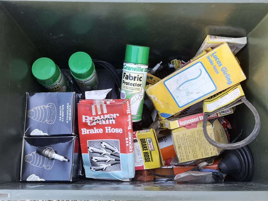 A quantity of assorted new old stock, garage consumables including air filters, CV boot kits,