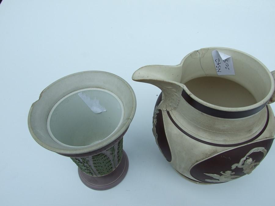 A 19th century stoneware commemorative mug depicting Wellington; together with two Jasperware - Image 4 of 10